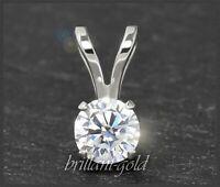 Diamant Damen 585 Gold Anhänger mit 0,54ct Brillant, River E; 14 Karat Weißgold