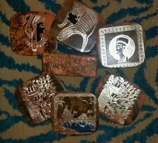 6 Egyptian Leather Coasters Camel Egypt Pharaoh (Brown)