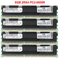 For Micron (32GB) 4x 8GB 2RX4 DDR3-1333M​Hz PC3-10600R ECC REG Server Memory