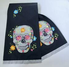 NEW Halloween Day of the Dead Embroidered Table Runner Skull Flowers Silver Blk