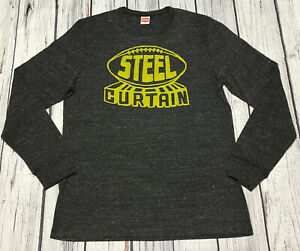 Homage NFL Pittsburgh Steelers Curtain Gray T Shirt Mens T-Shirt XL Long Sleeve