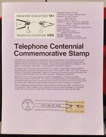 USPS 1976 First Day Issue Souvenir Page, Telephone Centennial - $0.13