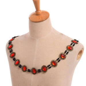 Retro Tudor Elizabethan Red Manmade Crystal Necklace Livery Chain Collar Cosplay