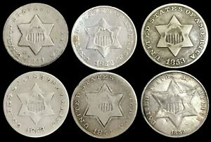 (6) 1851 O- 1859 SILVER UNITED STATES 3C THREE CENT PIECE CIRC COIN LOT