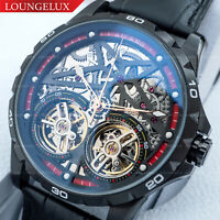 Mens Double Flywheel Open Heart Exhibition Skeleton Automatic Mechanical Watch