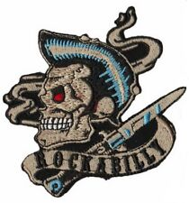 "Rockabilly Smoking Greaser Skull Blade Embroidered Iron On Patch 4""x3.5"""