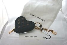 Marc Jacobs Heart crystal-embellished twill purse/ keychain -black & dust bag