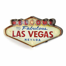"25 x 49cm LED Lit Metal ""Welcome to Las Vegas"" Retro Wall Art Sign Vintage"