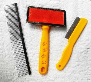 Pet Dog Cat Rabbit Grooming Greyhound Comb Brush Kits Remove Flea & Tick Dirts