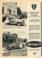 PUBLICITE ADVERTISING 025  1957  PEUGEOT  la 203 & la 403