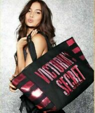 Victoria's Secret Bling Black Pink Sequins Book Beach School  Tote Bag