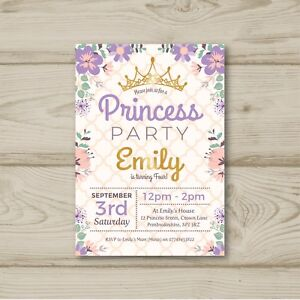 Princess Party Crown 10 Personalised Birthday Party Invitations
