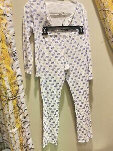 Roller Rabbit Moby Whale Blue White Pima Cotton Pajamas Size Small RARE