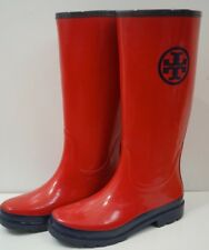 TORY BURCH Donna Brillante Rosso & Navy Tall Rainboot Stivale Stivali UK7.5; US10