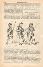 Uniforme Dragon de Saxe Grenadier à Cheval Huhlan Soldat Cavalier GRAVURE 1866