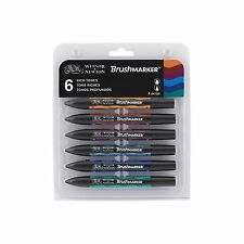 Winsor & Newton BrushMarker Permanent Colour Art Marker Pen Set of 6 Rich Tones