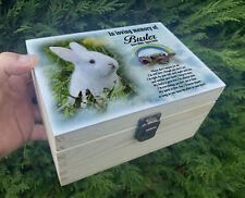 Personalised pet Rabbit wooden urn for ashes, Memorial keepsake box, Memory box.