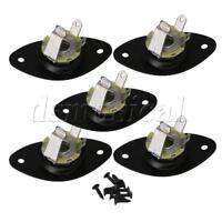 5PCS Black Metal Guitar Output Oval Plate with Jack Socket for Guitar