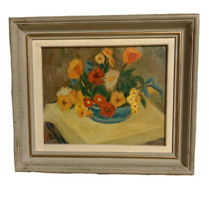 1960s American Oil San Fran on Canvas Painting Still Life with Poppies Ted Smart