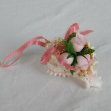 Handmade Shell Christmas Holiday Ornament Pink Roses Beads Glitter Bow Beach