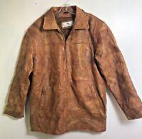 Vintage Mens Patchwork Leather jacket Brown boho hippie Medium M removable liner