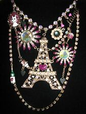 Idea Eiffel Tower Bib Statement Necklace~Nwt~Rare Betsey Johnson Paris Is A Good