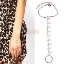 Fashion Women Punk Retro Pearl Bracelet Bangle With Ring Link Hand Chain Jewelry