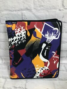 Vtg 90s Mead Nike Jordan All Over Print Binder Zip Multicolor w/Dividers NICE