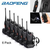 6x Baofeng BF-888S Two Way Radio Walkie Talkie UHF 400-470MHz Handheld + Earbuds