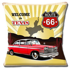 "Welcome to Texas Cushion Cover 16""x16"" 40cm Route 66 US Shield Vintage Retro Car"