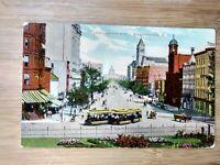 Washington D.C. Color Postcard Pennsylvania Ave, Vintage Trolley Cars & Horses