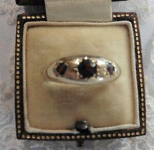 Antique Vintage Three Stone Garnet Gents Ring - 9ct