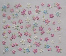 Accessoire ongles nail art Stickers autocollants- fleurs roses, bleues blanches