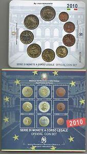 ITALIA ITALY  DIVISIONALE  2010 FDC 9  MONETE CON il  2 eurocomm.  CAVOUR UNC