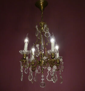 FINE ANTIQUE 4 LIGHT FRENCH CRYSTAL BRONZE CHANDELIER CEILING LAMP LIVING ROOM