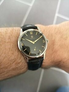 Superb Vintage OMEGA Ref 14713 Stunning Black Dial with Gold Accents