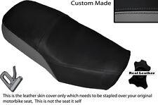 Negro Y Gris personalizado se adapta a Suzuki Gn 125 94-01 Cuero Doble cubierta de asiento solamente