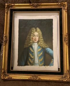 Original Oil Painting with Frame of18th C PORTRAIT Royal GENTLEMAN  Blonde Wig