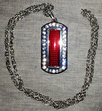"""Programmable Scrolling Red LED Rhinestone Dog Tag Message Display Name Badge 30"""""""