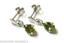9ct White Gold Peridot Drop Earrings Gift Boxed Christmas Gift Made in UK
