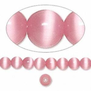Cat's Eye 6mm Dark Pink 50 Beads