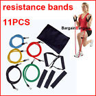 11 PCS YOGA RESISTANCE WORKOUT EXERCISE FITNESS BANDS TUBES GYM SET KIT