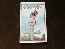 Old Comic Postcard, Lonely Girl Up Pole