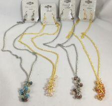 Crystal Cluster Necklace & Earring Set Purple Orange Blue Pink  NEW 4sets #G46