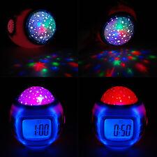 LED Music Kids Digital Alarm Clock Star Sky Projection Thermometer Calendar Kids