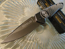 Tac-Force Midnight Ops Skull Bane Assisted Gray Tini Pocket Knife 951GY New