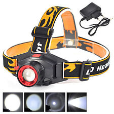 800LM Q5 LED 3-Modes Rechargeable Zoomable Headlamp Headlight Head Torch+Charger