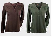 Ladies Womens 'October' Long Sleeve Top Y-neck Long Sleeves Regular Fit Shirt