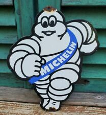Vintage Porcelain Michelin Blue Man Gas And Oil Sign