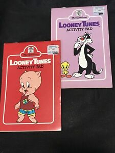Vintage 1981 & 1982 Looney Tunes Activity Pads Sylvester Tweety Porky Pig Books
